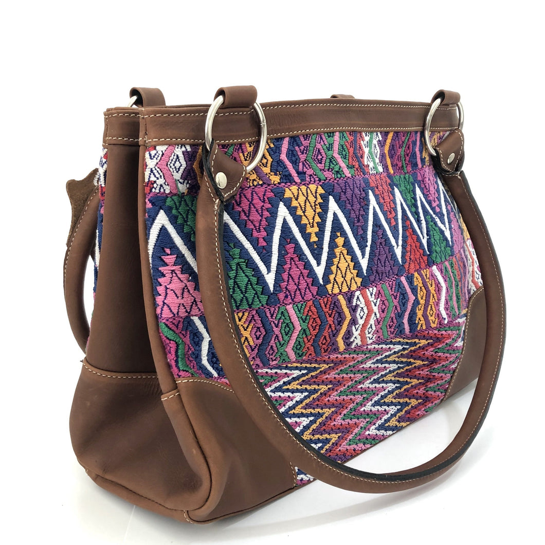 Full Grain Leather Handbag with Mayan Huipil Fabric Body No. 27