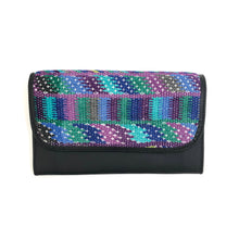 Load image into Gallery viewer, Mayan Artisan Leather Clutch Purse with Huipil Fabric Body No. 12