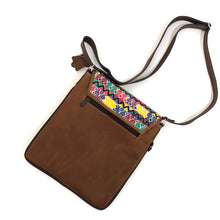 Load image into Gallery viewer, Cross Body Genuine Leather Hand Crafted Mayan Artisan Bag Brown Mayan huipil fabric body