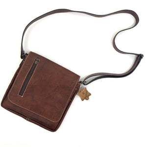 Cross Body Genuine Leather Hand Crafted Mayan Artisan Bag  No. 14