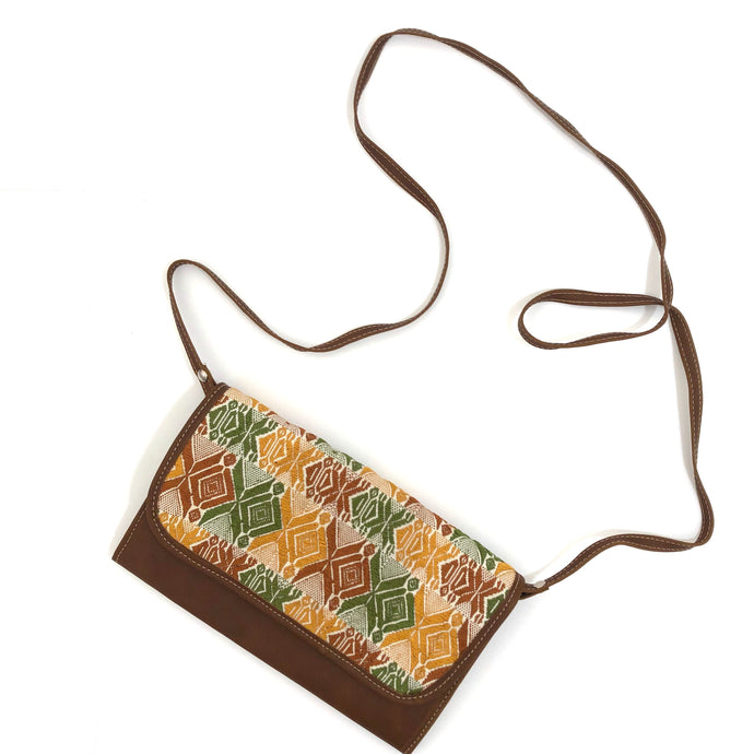 Mayan Artisan Leather Clutch Purse with Huipil Fabric Body No. 10