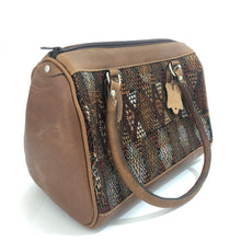 Load image into Gallery viewer, Full Grain Leather Handbag with Mayan Huipil Fabric Body No. 28