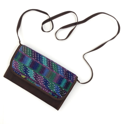 Mayan Artisan Leather Clutch Purse with Huipil Fabric Body No. 8