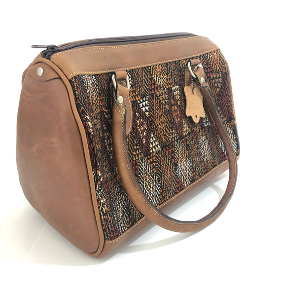 Full Grain Leather Handbag with Mayan Huipil Fabric Body No. 28