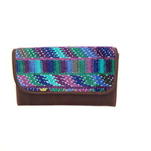 Load image into Gallery viewer, Mayan Artisan Leather Clutch Purse with Huipil Fabric Body No. 8