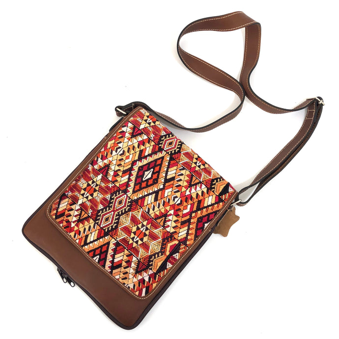 (Concealed Carry) Cross Body Genuine Leather Hand Crafted Mayan Artisan Bag Brown Mayan huipil fabric body No. 25