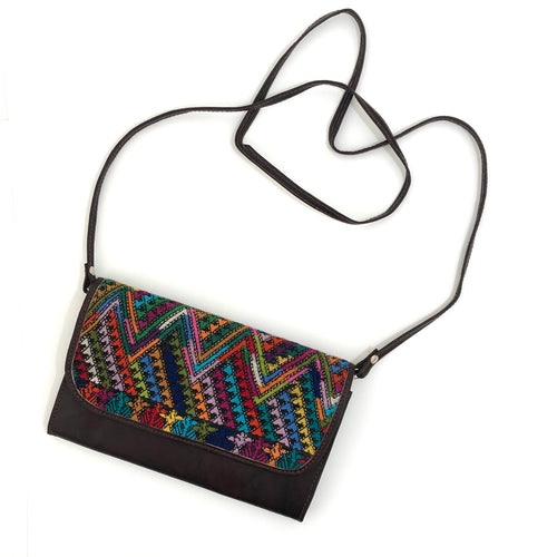 Mayan Artisan Leather Clutch Purse with Huipil Fabric Body No. 7