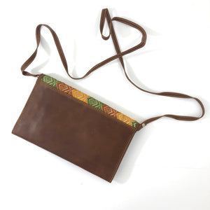 Mayan Artisan Leather Clutch Purse with Huipil Fabric Body No. 5