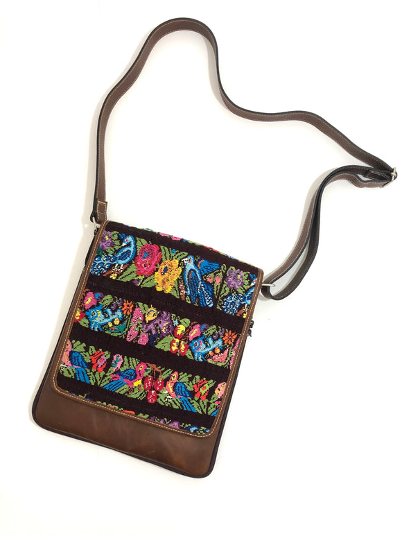 Cross Body Genuine Leather Hand Crafted Mayan Artisan Bag Brown Mayan huipil fabric body