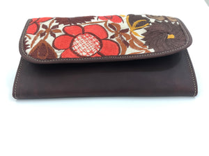 Mayan Artisan Leather Clutch Purse with Huipil Fabric Body No. 6
