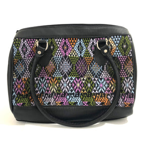 Full Grain Leather Handbag with Mayan Huipil Fabric Body No. 34