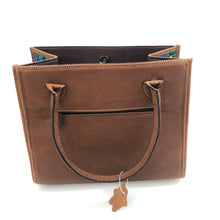Load image into Gallery viewer, Genuine Full Grain Leather Handbag with Mayan Huipil Fabric Body No. 17