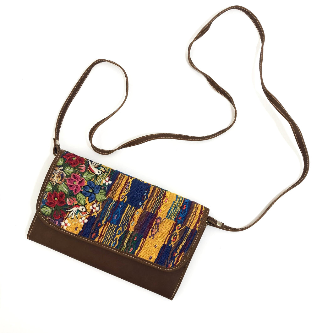 Mayan Artisan Leather Clutch Purse with Huipil Fabric Body No. 11
