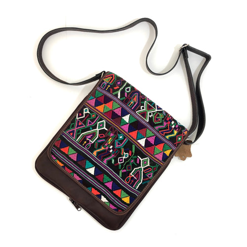 Cross Body Genuine Leather Hand Crafted Mayan Artisan Bag Brown Mayan huipil fabric body No. 19