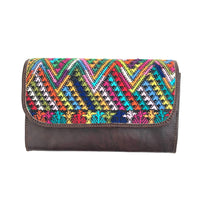Load image into Gallery viewer, Mayan Artisan Leather Clutch Purse with Huipil Fabric Body No. 7