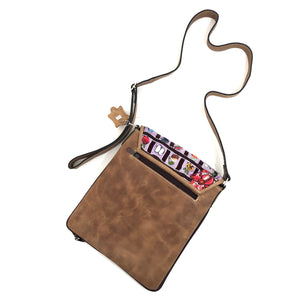 Cross Body Genuine Leather Hand Crafted Mayan Artisan Bag Brown Mayan huipil fabric body (Fruits, Flowers, Veggies, Grid Design)