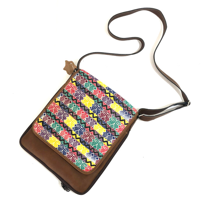 Cross Body Genuine Leather Hand Crafted Mayan Artisan Bag Brown Mayan huipil fabric body No. 29