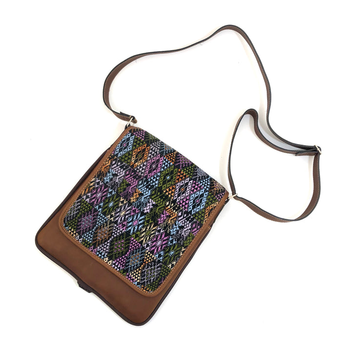 Cross Body Genuine Leather Hand Crafted Mayan Artisan Bag Brown Mayan huipil fabric body No. 21