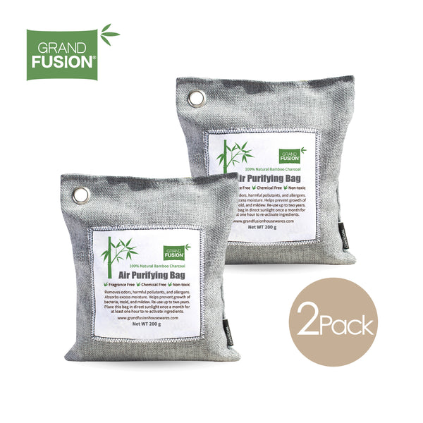 Bamboo Charcoal Air Purifying Bag 2 Pack (200G EACH) - KEEPS ROOMS FRESH, DRY, AND ODOR FREE.