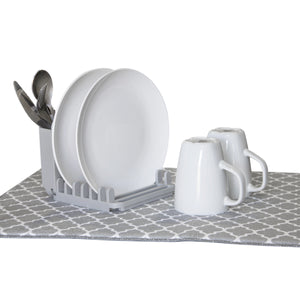 Dish Drying Mat with 3 Section Rack