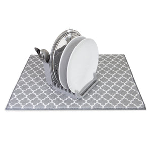 Compact Collapsible Dish Drying Rack and Ultra Absorbent Microfiber Mat. Drain and Air Dry 5 Plates, 2 Bowls and Silverware Without Dripping on Counters. Customizable Space Saving Design Stores Easily, From Grand Fusion