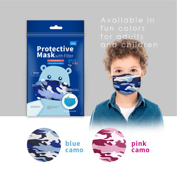 CHILD SIZE Non-Medical Mask with Filter - 3 PACK SET (Made from Super Comfortable Polyester Microfiber)