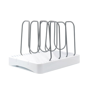 Grand Fusion Customizable Adjustable Cookware Organizer Rack to Hold Pots, Pans, Lids, Cutting Boards, Trays and Sheets. Keep Kitchen Cabinets and Drawers Organized and Clean To Maximize Storage Space
