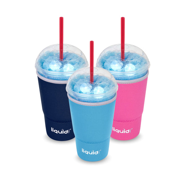 Slushie-Sleeve™, Large - 3 Pack Set, From Liquid Fusion, Grand Fusion Insulated Drip Proof Reusable Neoprene Travel Coffee Cup Sleeve. Take Beverages Anywhere Keeping Iced Ones Cold Without Sweating Condensation on Papers or Desks.
