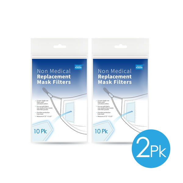 Non-Medical Mask Replacement Filters - 10 PK, SET OF TWO (20 Filters Total), From Grand Fusion
