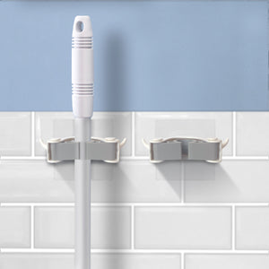 Broom Holder 2 Pack White, With Self-Adhesive Mounting Brackets, From Grand Fusion