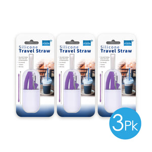 Silicone Travel Straw & Brush, 3 pc. Set
