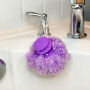 Mesh Bath Pouf with Soap Dispensing Handle - 3 Pack Set, From Grand Fusion