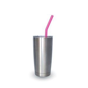 RE-USABLE SILICONE DRINKING STRAW SET WITH BRISTLE CLEANING BRUSH