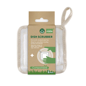 Biodegradable Non Scratch Dish Scrubber Pads To Get Dishes Cleaner. Eco Friendly 100% Natural, Odor Free Plant Fiber Loofahs Are Perfect For Scrubbing Dishes Before Running In The Dishwasher, From Grand Fusion