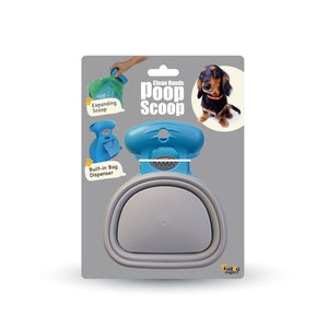 Clean Hands Poops Scoop with Built-in Waste Bag Dispenser and Expandable Silicone Scoop