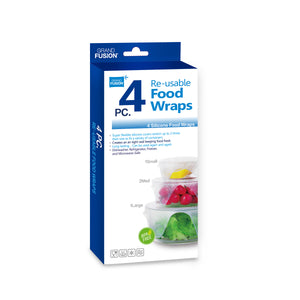 Silicone Food Wrap 4 Pack, Flexible covers for glass, ceramic, and metal containers, From Grand Fusion