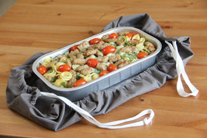 2 In 1 Casserole Caddy and Dish Towel. Machine Washable Kitchen Cloth Converts to Dual Drawstring Carrier to Transport Hot or Warm Dishes and Meals From the Oven to Picnics or Backyard BBQs. From Grand Fusion