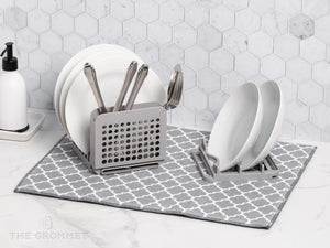 Dish Drying Rack and Ultra Absorbent Microfiber Mat. Drain and Air Dry 5 Plates, 2 Bowls and Silverware Without Dripping on Counters. Customizable Space Saving Design Stores Easily, From Grand Fusion