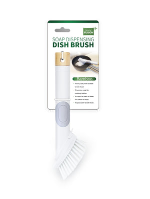 Eco Friendly Soap Dispensing Scrub Brush With Bamboo Handle and Replaceable Head To Get Dishes Cleaner. Scraper and Non Scratch Bristles Work Together To Clean the Toughest Baked On Messes By Hand, From Grand Fusion