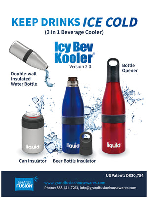 Icy Bev Kooler V 2.0 - 3 in 1 Bottle Insulator, Can Insulator, and Double Wall Vacuum Sealed Stainless Steel Insulated Water Bottle