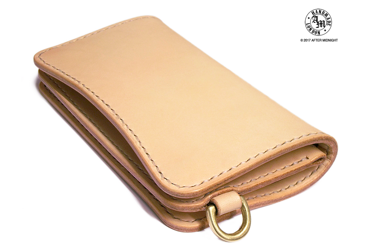 Trucker Wallet 'Concealed' Extra Pockets Natural Veg Tan - Medium