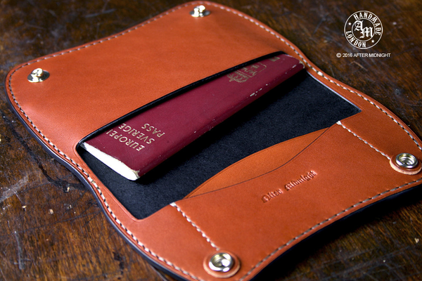 Passport Holder in Black with Tan Interior