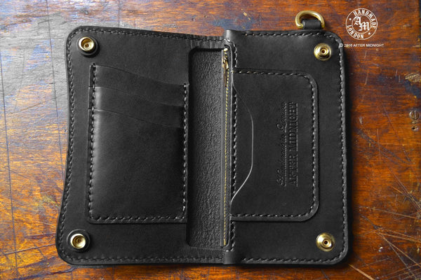 Trucker Wallet 'Concealed' Extra Pockets Midnight Black - Medium