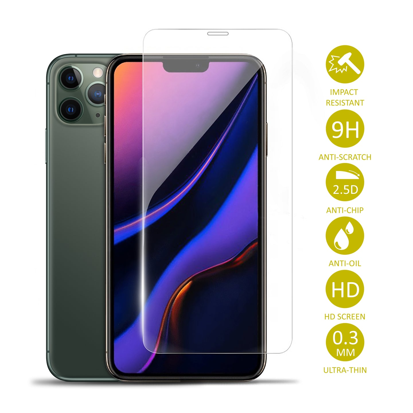 9H Tempered Glass Screen Protector 9H 透明鋼化玻璃手機保護貼 iPhone X XS XR 11 Pro Max impact resistant anti-scratch 防刮 防撞