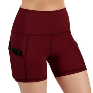 [High Waist Workout Running Yoga Shorts Tummy Control Side Pockets]Now 60% off