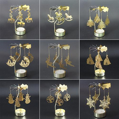 【Christmas Promotion】Hot Spinning Rotary Metal Carousel Candle Holder
