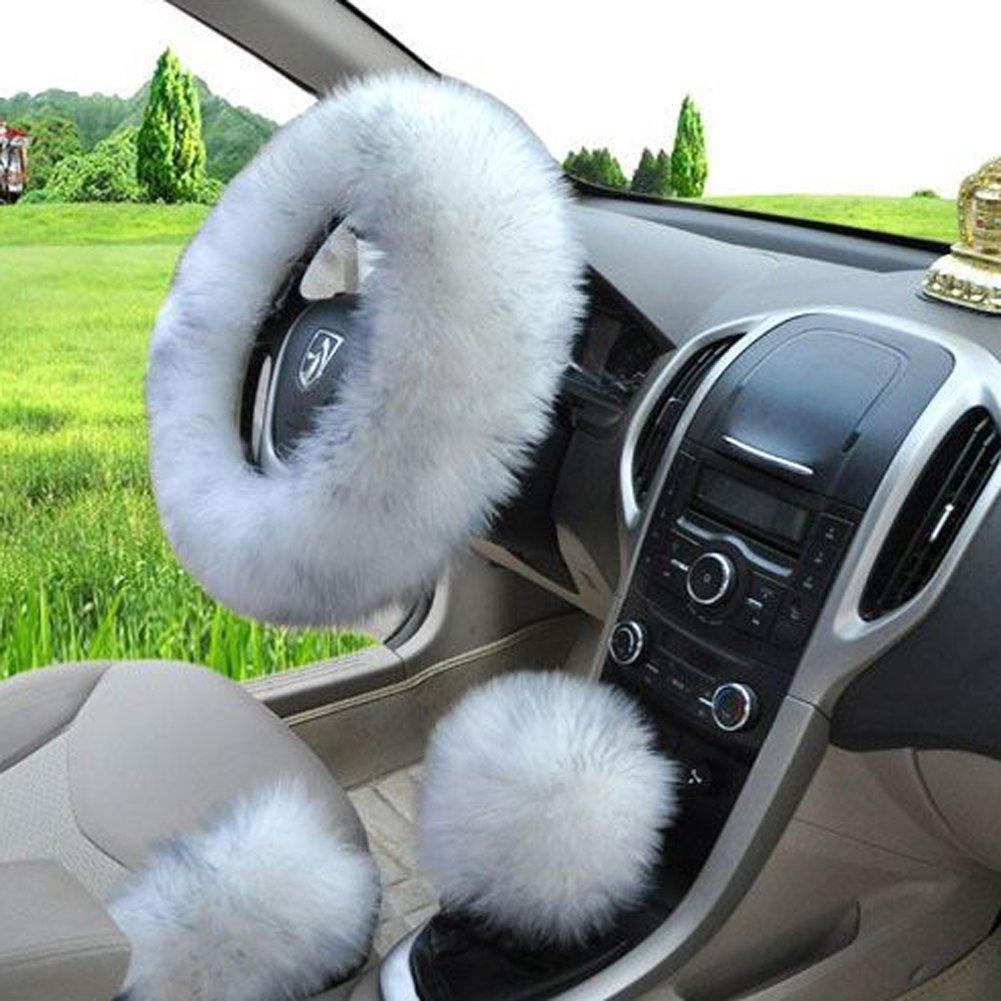 Winter Warm Faux Wool Steering Wheel Cover