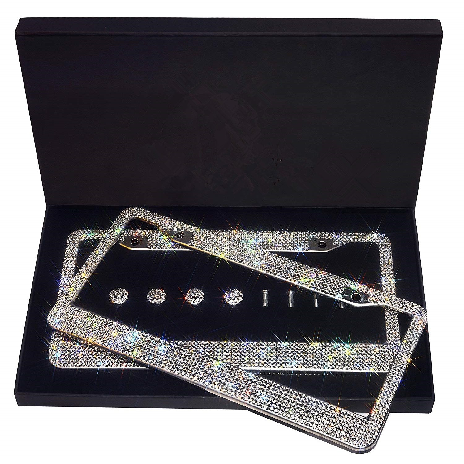 Bling-Bling White Rhinestone License Plate Frame