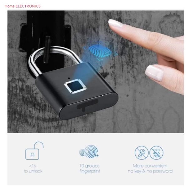 Keyless Fingerprint Smart Lock - USB Rechargeable