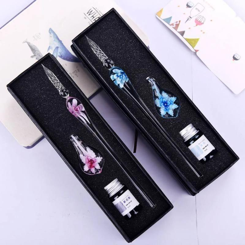 Vintage Art Glass Painting Calligraphy Pen Set(🔥Buy 2  Get 1 FREE)